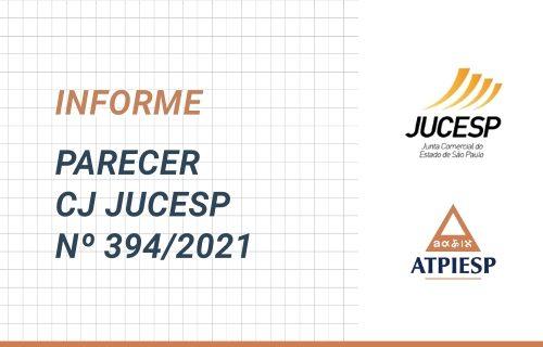 Parecer CJ JUCESP nº 394/2021