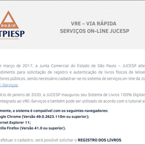 VRE-Serviços – Tutorial para registro de livros na JUCESP
