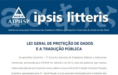 """Ipsis Litteris – """"Lei Geral de Proteção de Dados e a Tradução Pública"""""""