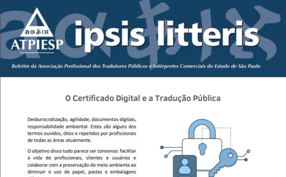 """Ipsis Litteris – """"O Certificado Digital e a Tradução Pública"""""""